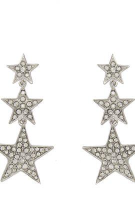 Stars Earring Silver White