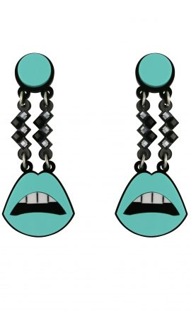 Sealed Lips Earrings Blue