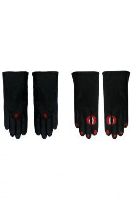 Gloves Black Red White
