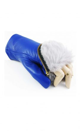 Gloves Blue Fur