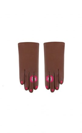 Gloves Cognac Fushia White