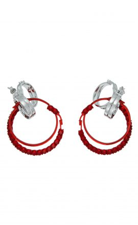 Earring 006 Red Silver