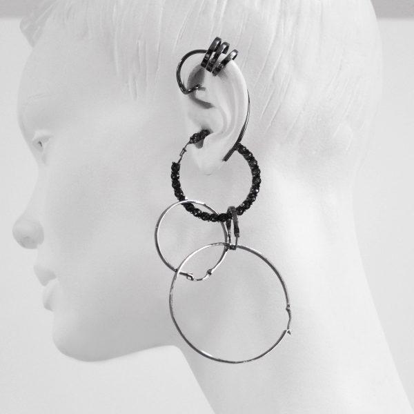 Earring 008 Black Silver