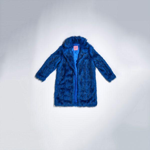 Blue Faux Fur Coat