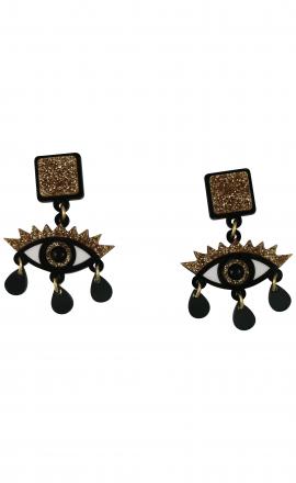 Gold Glitter Eye Earrings