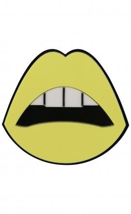 Sealed Lips Yellow Brooch