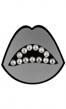 Silver Lips Brooch
