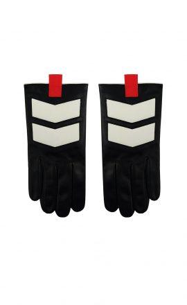 Men Gloves Black White